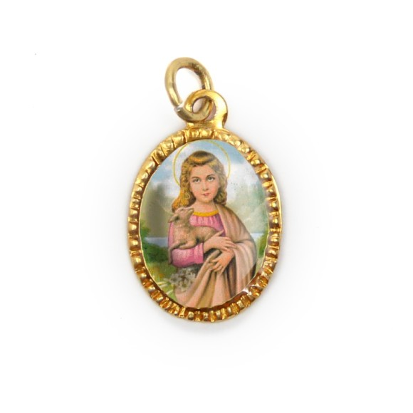 MD103095P10 - Medalha de Alumínio Oval Dourada c/ 10un. Santa Inês - 2X1,3cm