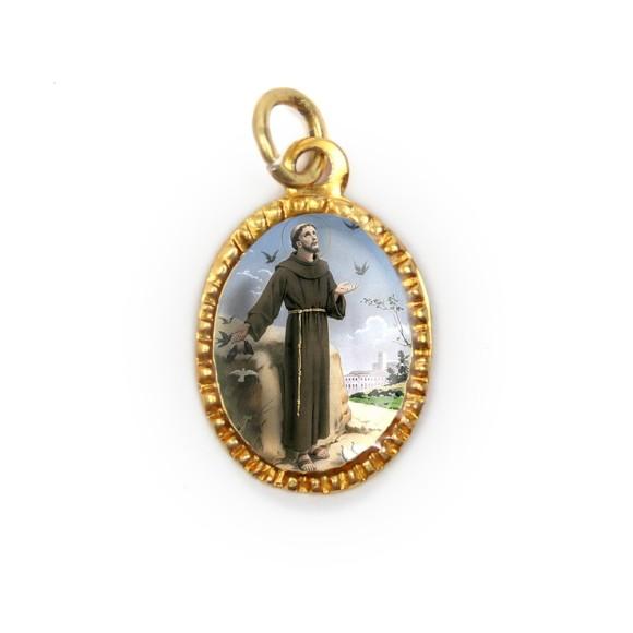 MD103240P10 - Medalha de Alumínio Oval Dourada c/ 10un. São Francisco Assis - 2X1,3cm
