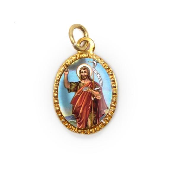 MD103248P10 - Medalha de Alumínio Oval Dourada c/ 10un. São  João Batista - 2X1,3cm