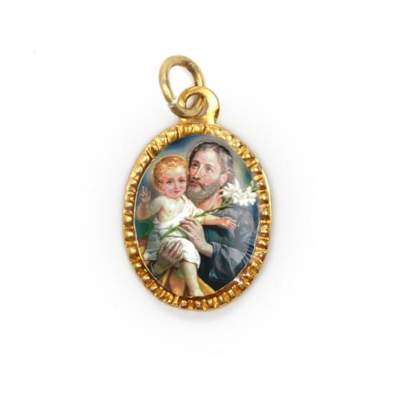MD103254P10 - Medalha de Alumínio Oval Dourada c/ 10un. São José - 2X1,3cm
