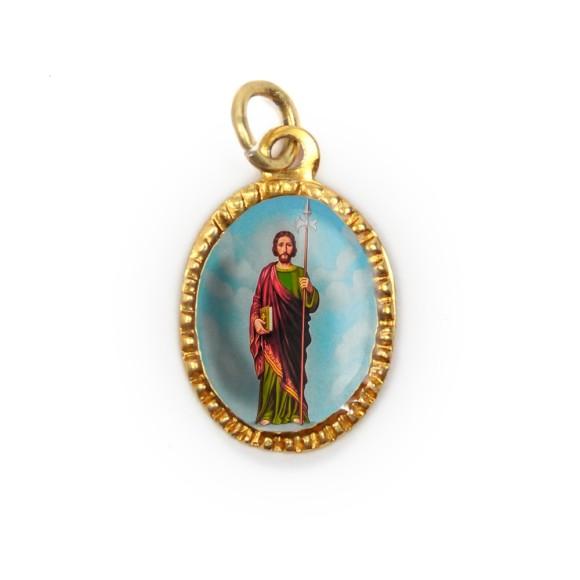 MD103255P10 - Medalha de Alumínio Oval Dourada c/ 10un. São Judas  - 2X1,3cm