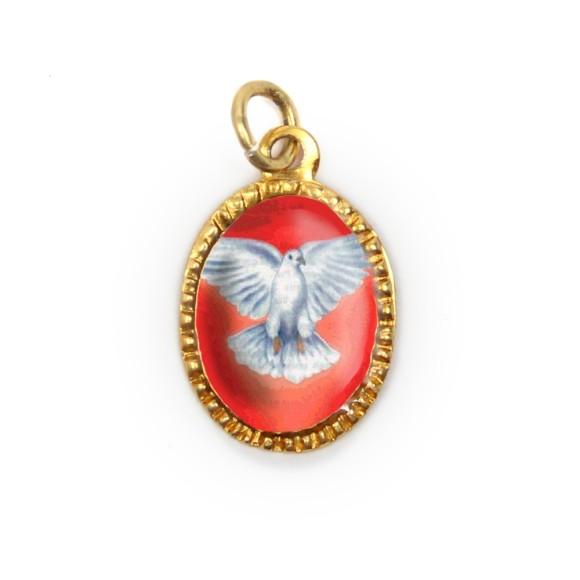 MD480021P10 - Medalha Divino Espírito Santo Alumínio Oval Dourada c/ 10un. - 2X1,3cm