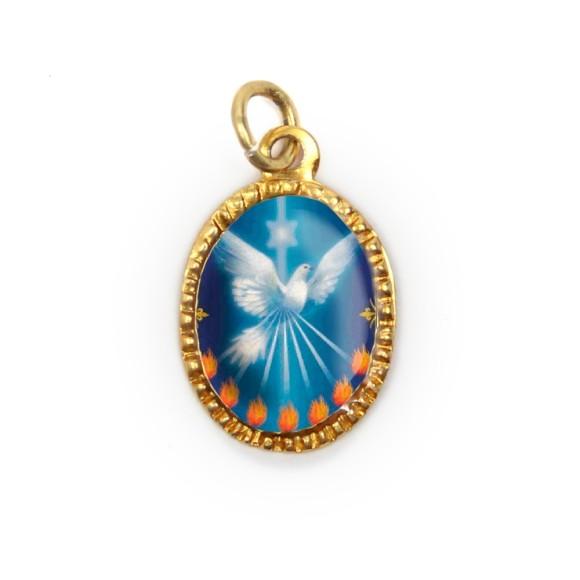 MD480023P10 - Medalha de Alumínio Oval Dourada c/ 10un. Sagrada Família - 2X1,3cm