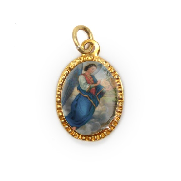MD103406P10 - Medalha de Alumínio Oval Dourada c/ 10un. São Gabriel Arcanjo - 2X1,3cm