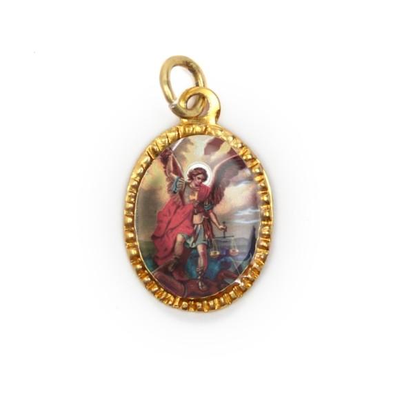 MD103409P10 - Medalha de Alumínio Oval Dourada c/ 10un. São Miguel Arcanjo - 2X1,3cm
