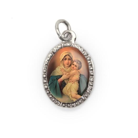 MD103601P10 - Medalha de Alumínio Oval Prata c/ 10un. Mãe Rainha - 2X1,3cm