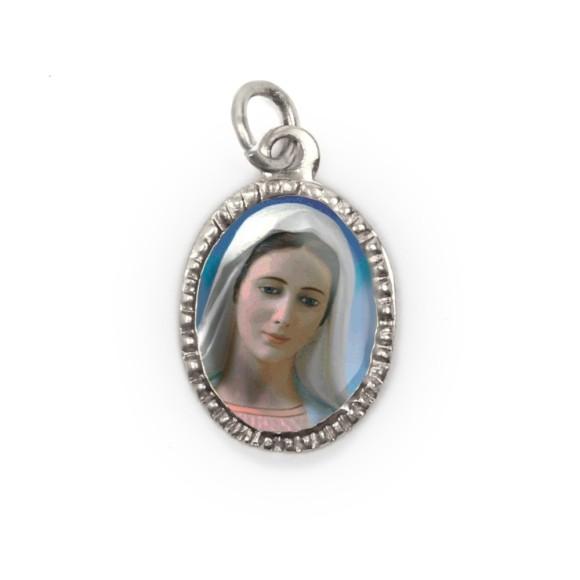 MD103615P10 - Medalha de Alumínio Oval Prata c/ 10un. Rainha da Paz - 2X1,3cm