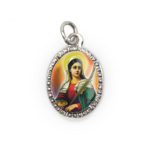 MD103623P10 - Medalha de Alumínio Oval Prata c/ 10un. Santa Luzia  2X1,3cm (052)
