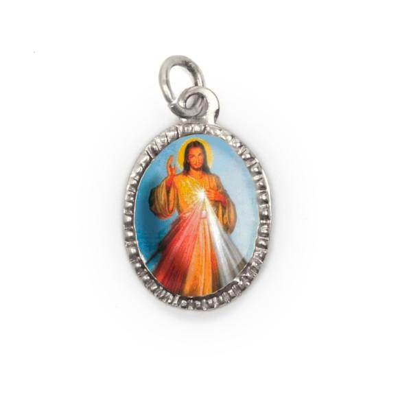 MD103805P10 - Medalha de Alumínio Oval Prata c/ 10un. Jesus Misericordioso - 2X1,3cm