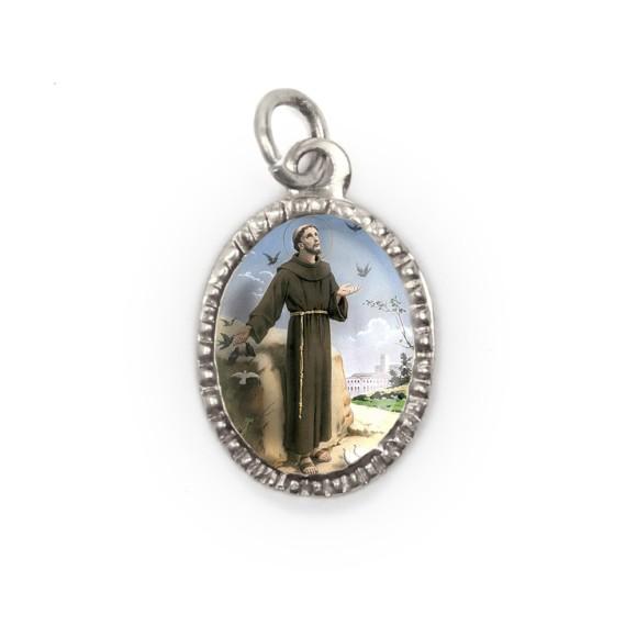MD103821P10 - Medalha de Alumínio Oval Prata c/ 10un. São Francisco de Assis - 2X1,3cm