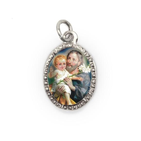 MD103825P10 - Medalha de Alumínio Oval Prata c/ 10un. São José - 2X1,3cm
