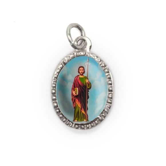 MD103826P10 - Medalha de Alumínio Oval Prata c/ 10un. São Judas Tadeu - 2X1,3cm