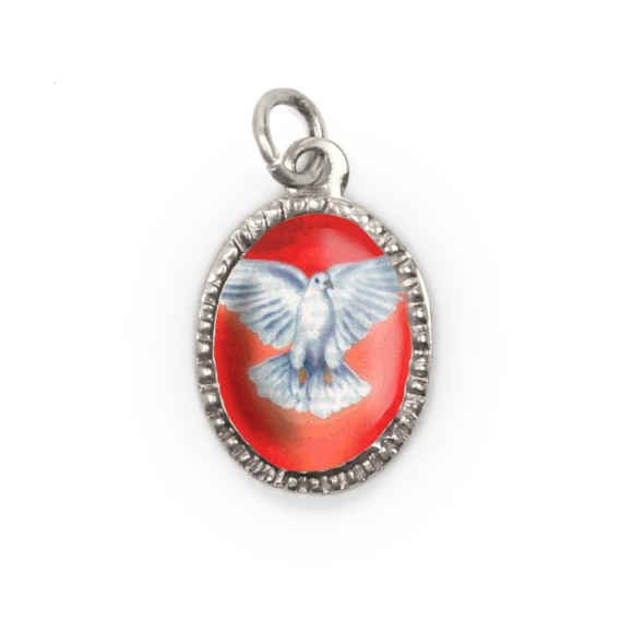 MD480025P10 - Medalha Divino Espírito Santo Alumínio Oval Prata c/ 10un. - 2X1,3cm
