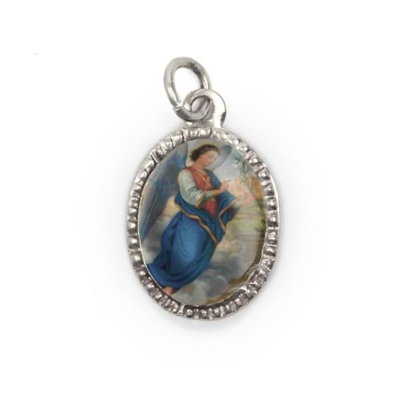MD103906P10 - Medalha de Alumínio Oval Prata c/ 10un. São  Gabriel Arcanjo - 2X1,3cm (903)