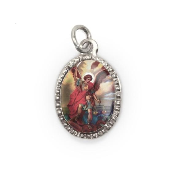 MD103909P10 - Medalha de Alumínio Oval Prata c/ 10un. São Miguel Arcanjo - 2X1,3cm