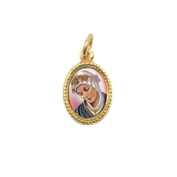 MD102007P20 - Medalha de Alumínio Oval Dourada c/ 20un. N. Sra. Da Salette - 1,5x1cm