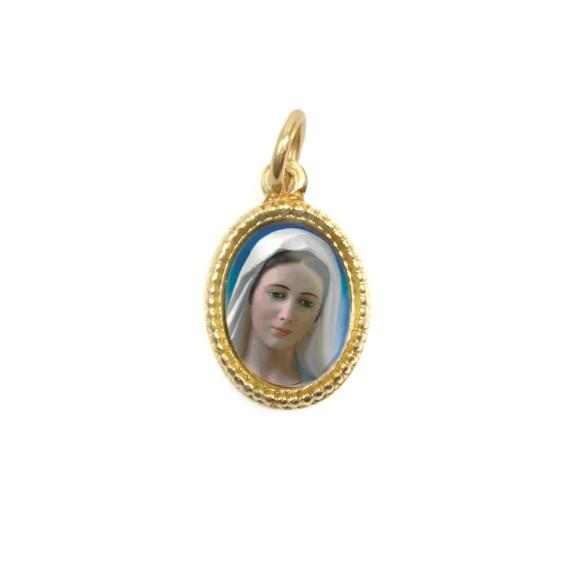 MD102020P20 - Medalha de Alumínio Oval Dourada c/ 20un. Rainha da Paz - 1,5x1cm
