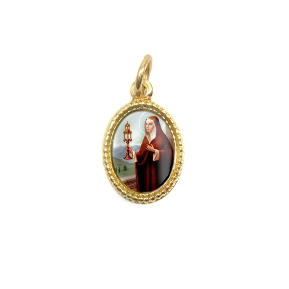 MD102024P20 - Medalha de Alumínio Oval Dourada c/ 20un. Santa Clara - 1,5x1cm