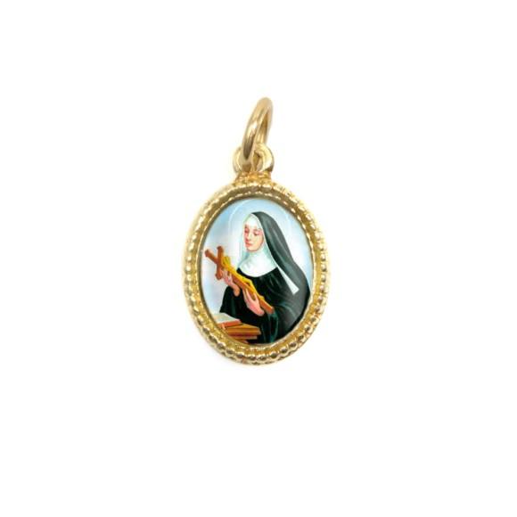 MD102027P20 - Medalha de Alumínio Oval Dourada c/ 20un. Santa Rita de Cássia - 1,5x1cm