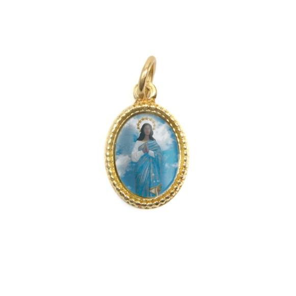 MD102028P20 - Medalha de Alumínio Oval Dourada c/ 20un. Santa Sara Kali - 1,5x1cm