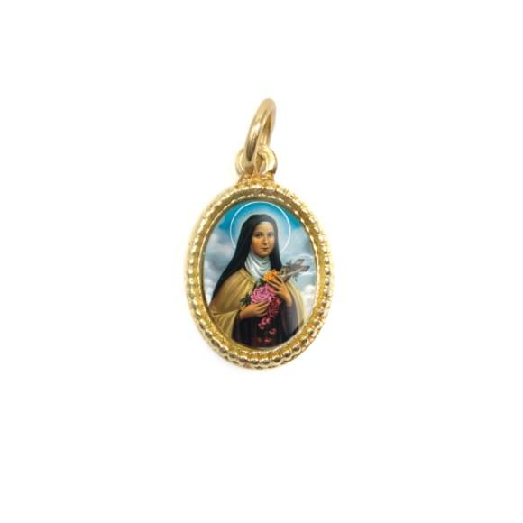 MD102029P20 - Medalha de Alumínio Oval Dourada c/ 20un. Santa Terezinha das Rosas - 1,5x1cm
