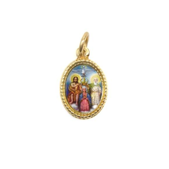 MD102200P20 - Medalha de Alumínio Oval Dourada c/ 20un. Divino Pai Eterno - 1,5x1cm