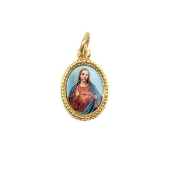 MD102206P20 - Medalha de Alumínio Oval Dourada c/ 20un. Sagrado Coração de Jesus - 1,5x1cm
