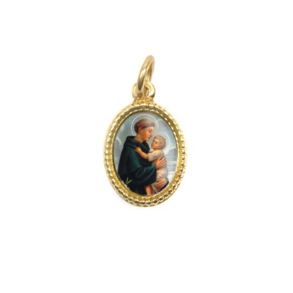 MD102208P20 - Medalha de Alumínio Oval Dourada c/ 20un. Santo Antônio - 1,5x1cm