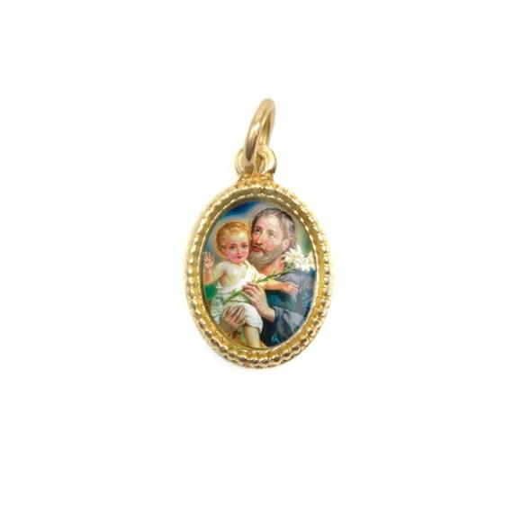 MD102223P20 - Medalha de Alumínio Oval Dourada c/ 20un. São José - 1,5x1cm