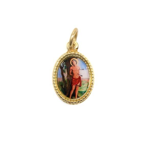 MD102225P20 - Medalha de Alumínio Oval Dourada c/ 20un. São Sebastião - 1,5x1cm