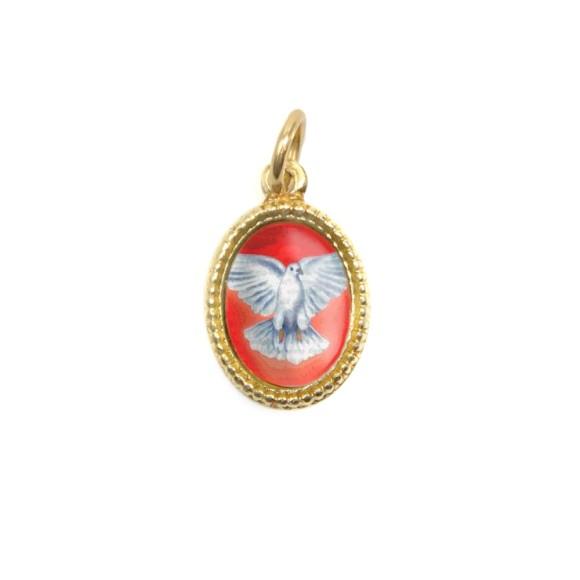 MD480011P10 - Medalha Divino Espírito Santo Alumínio Oval Dourada c/ 20un. - 1,5x1cm