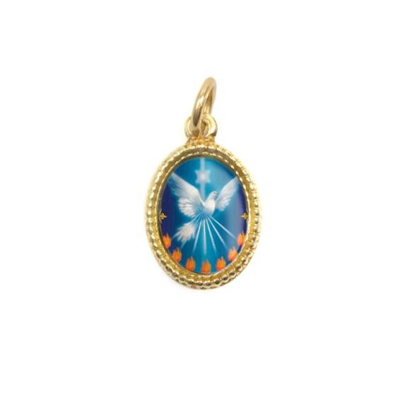 MD480013P10 - Medalha Divino Espírito Santo Alumínio Oval Dourada c/ 20un. - 1,5x1cm