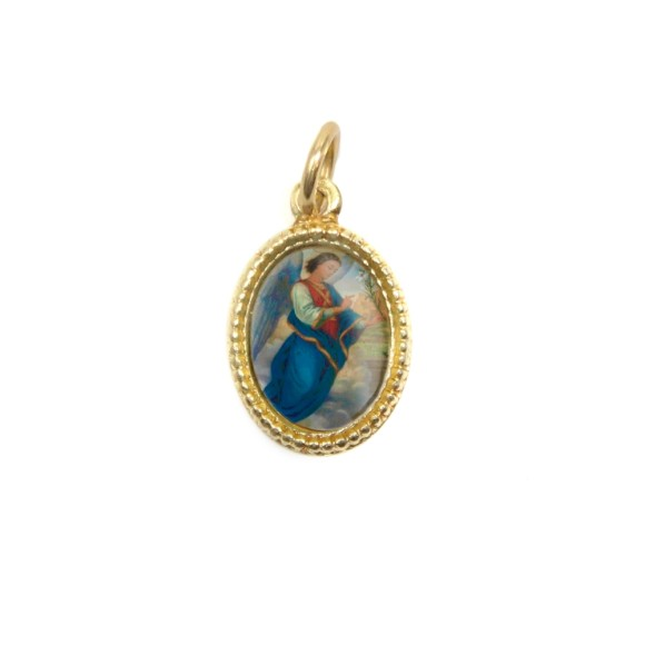 MD102305P20 - Medalha de Alumínio Oval Dourada c/ 20un. São Gabriel Arcanjo - 1,5x1cm