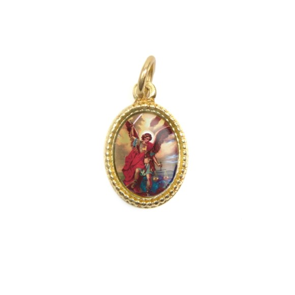 MD102306P20 - Medalha de Alumínio Oval Dourada c/ 20un. São Miguel Arcanjo - 1,5x1cm