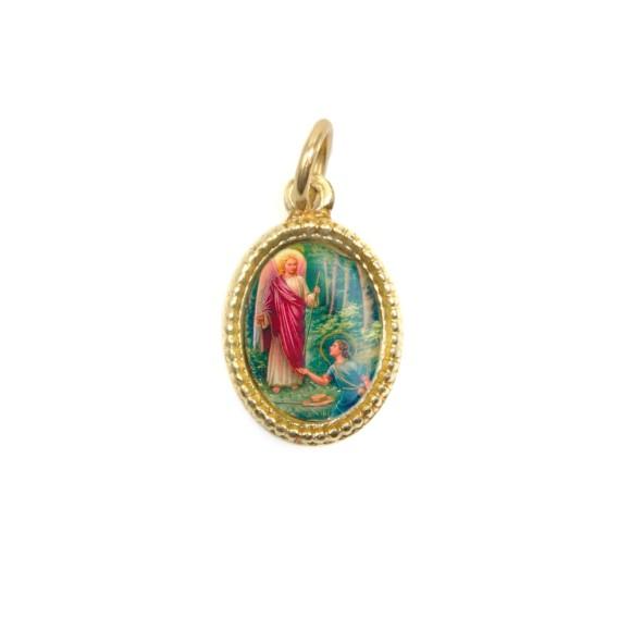 MD102307P20 - Medalha de Alumínio Oval Dourada c/ 20un. São Rafael Arcanjo - 1,5x1cm