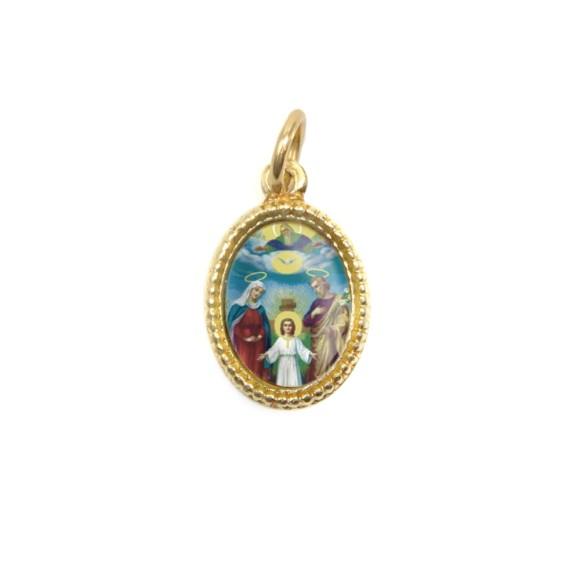 MD102308P20 - Medalha de Alumínio Oval Dourada c/ 20un. Sagrada Família - 1,5x1cm