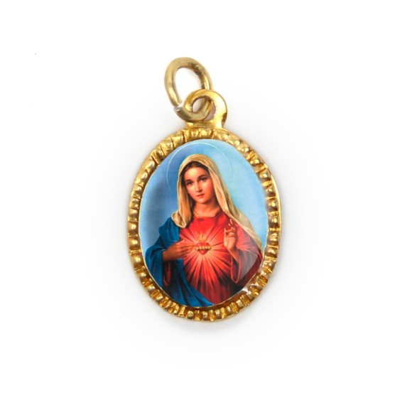 MD103072P10 - Medalha de Alumínio Oval Dourada c/ 10un. Sagrado Coração de Maria - 2X1,3cm
