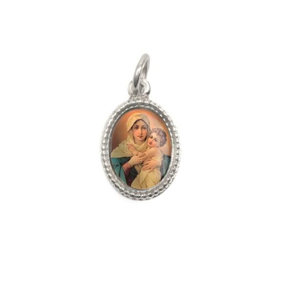 MD102401P20 - Medalha de Alumínio Oval Prata c/ 20un. Mãe Rainha - 1,5x1cm