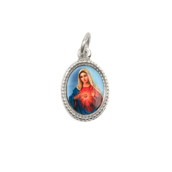 MD102414P20 - Medalha de Alumínio Oval Prata c/ 20un. Sagrado Coração de Maria - 1,5x1cm