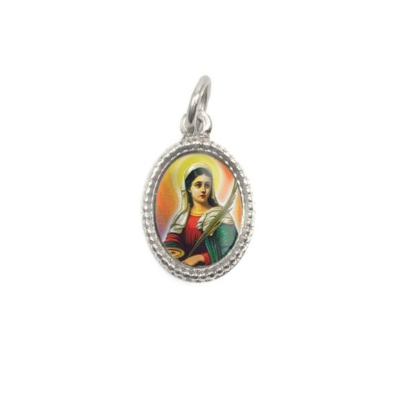 MD102418P20 - Medalha de Alumínio Oval Prata c/ 20un. Santa Luzia - 1,5x1cm