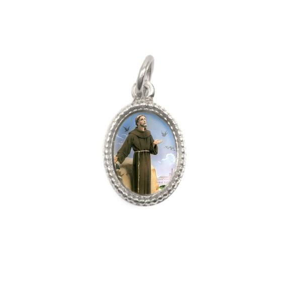 MD102510P20 - Medalha de Alumínio Oval Prata c/ 20un. São Francisco Assis - 1,5x1cm