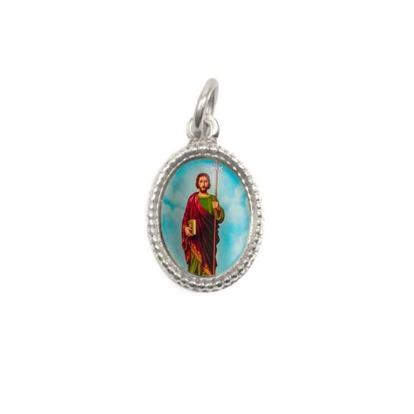 MD102515P20 - Medalha de Alumínio Oval Prata c/ 20un. São Judas  - 1,5x1cm