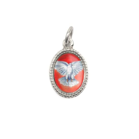 MD480015P10 - Medalha Divino Espírito Santo Alumínio Oval Prata c/ 20un. - 1,5x1cm