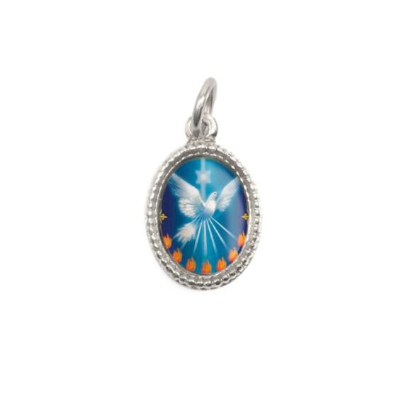 MD480017P10 - Medalha Divino Espírito Santo Alumínio Oval Prata c/ 20un. - 1,5x1cm