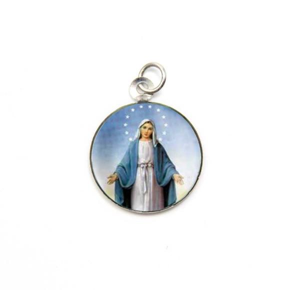 MD520041P3 - Medalha N. Sra. Das Graças Alumínio Redonda c/ 3un. - 2,5x2cm