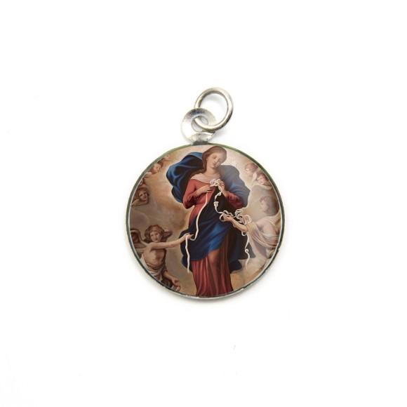 MD105022P3 - Medalha de Alumínio Redonda c/ 3un. N. Sra. Desatadora de Nós - 2,5x2cm