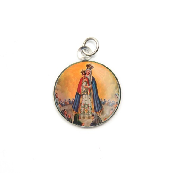 MD105024P3 - Medalha de Alumínio Redonda c/ 3un. N. Sra. Do Bom Parto - 2,5x2cm