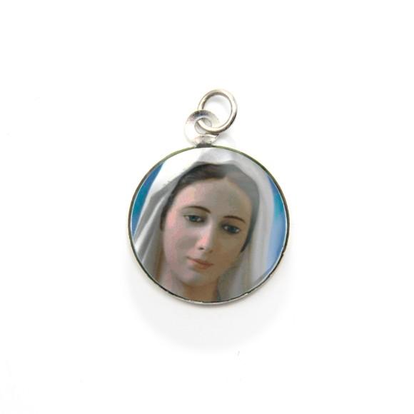 MD105035P3 - Medalha de Alumínio Redonda c/ 3un. Rainha da Paz - 2,5x2cm
