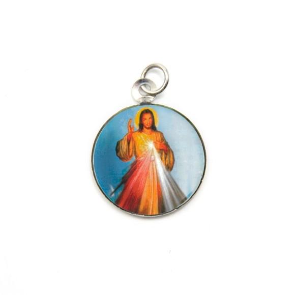 MD105201P3 - Medalha de Alumínio Redonda c/ 3un. Jesus Misericordioso - 2,5x2cm