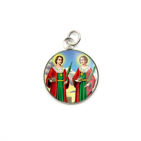 MD105213P3 - Medalha de Alumínio Redonda c/ 3un. São  Cosme e Damião - 2,5x2cm